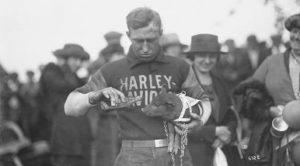 "Here we see ""Johnny"" the Harley team's mascot circa 1920"
